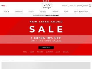 evans.co.uk screenshot