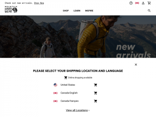 mountainhardwear.ca screenshot