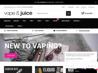 vapeandjuice.co.uk screenshot