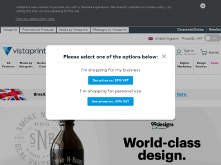 vistaprint.co.uk screenshot