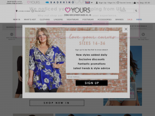 yoursclothing.co.uk screenshot